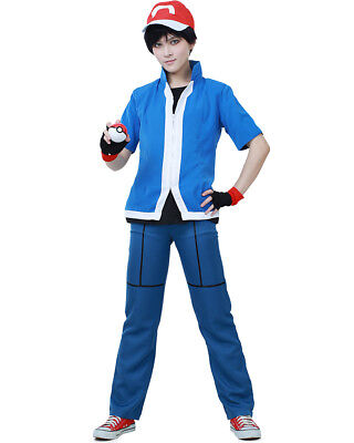 Pokemon X and Y Ash Ketchum Cosplay Costume Kids & Adults - Pokemon Ash Costumes