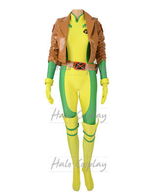 Female Rogue Costume Anna Marie Cosplay Bodysuit with Jacket Gloves