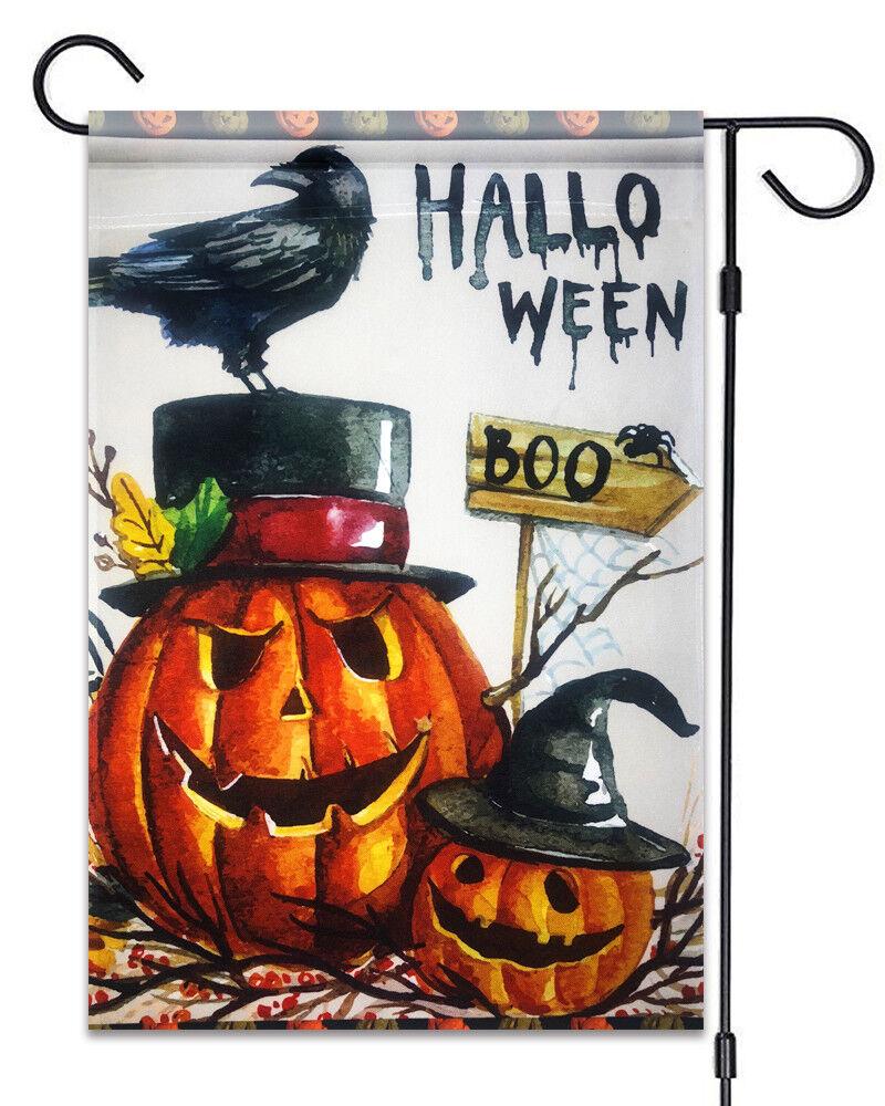 """Halloween Boo Garden Flag 12""""X18"""" Halloween Pumpkins and  Cr"""