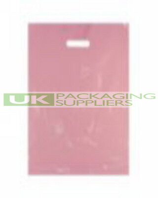 """100 STRONG VARIGAUGE PINK COLOUR PLASTIC CARRIER BAGS 15 x 18 x 3"""" - NEW"""