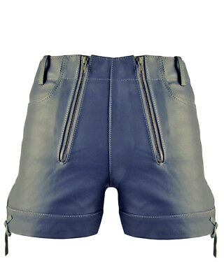 Bockle® Gray Shorts kurze Herren Lederhose Leder Pants neu grau