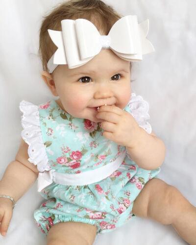 Newborn Baby Girls Lace Flower Romper Jumpsuit Outfit Sunsuit Summer Clothes UK
