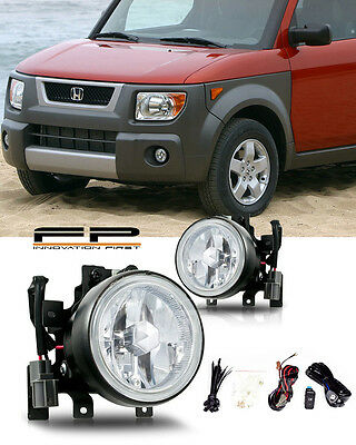 2003-2006 Honda Element Fog Lights Front Lamps Clear Lens PAIR Complete Kit Pair