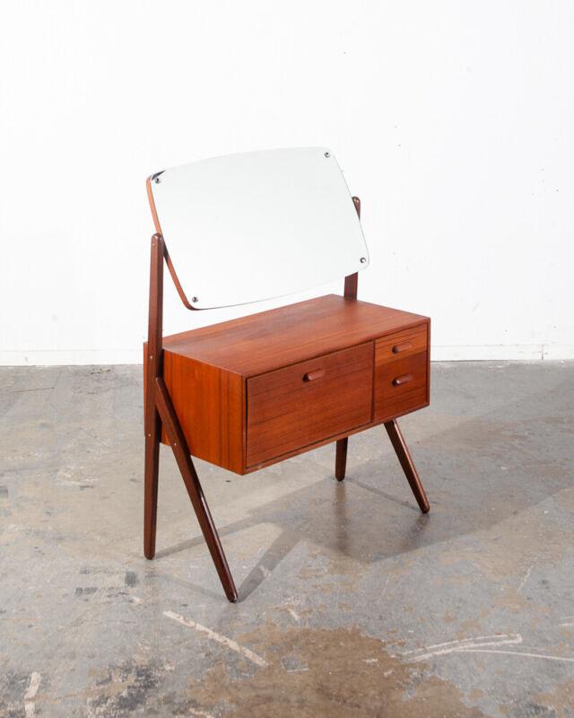 Mid Century Danish Modern Vanity Table Mirror Teak AG SPEJL KOBBERBESKYTTET Wood