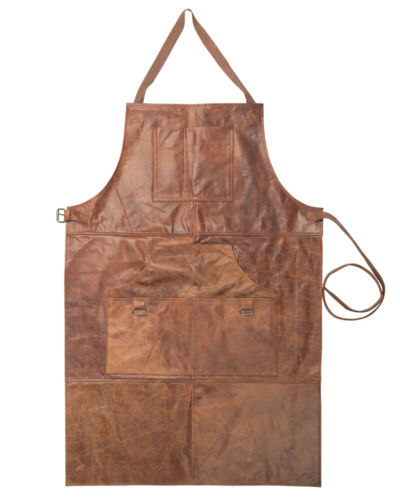 Leather Work Shop Apron with 6 Tool Pockets Heat & Flame Resistant Heavy Duty