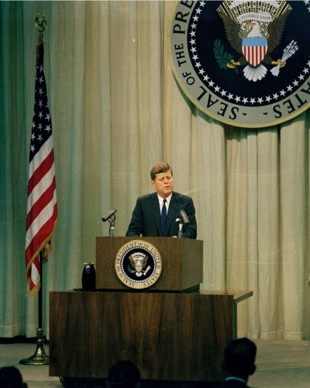 President John F. Kennedy speaks at Press Conference 1961 New 8x10 Photo