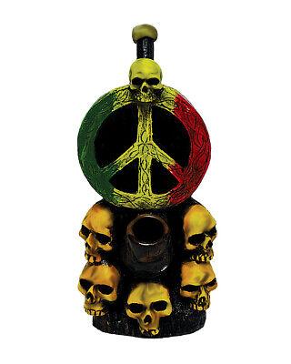 Rasta Peace Sign Skulls Handmade Tobacco Smoking Hand Pipe Mekurabe Death Reggae - Handmade Peace Sign