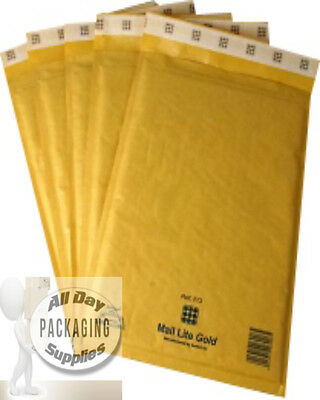 """50 SMALL 6 X 8"""" C0 MAIL LITE BUBBLE ENVELOPES PADDED MAILING BAGS GOLD"""