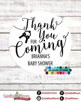 Thank you for coming! Baby Shower Personalized Party Favor Round Stickers (Personalized Baby Shower Favors)