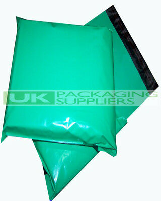 500 LARGE GREEN PLASTIC MAILING BAGS 14 x 20