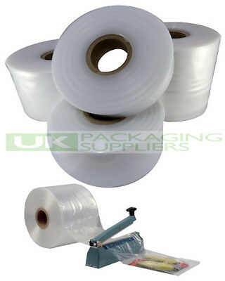 "2 SMALL ROLLS OF 4"" CLEAR LAYFLAT TUBING 500gauge POLYTHENE PLASTIC 168 METRES"