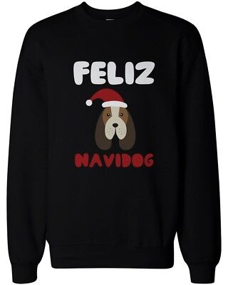 - Feliz Navidog Christmas Sweatshirt Funny Beagle X-Mas Pullover Fleece Sweater