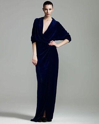 LANVIN Designer Violet Royal Velvet Wrap Drape Long Slit Maxi Dress Gown 36 4 US