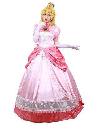 Adult Princess Peach Costume Women Super Mario Bros and Luigi Cosplay Pink Dress](Mario And Peach Costumes)