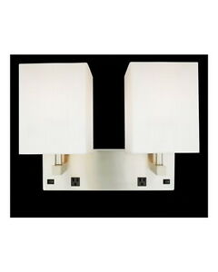 brushed nickel 2 light wall sconce with 2 outlets and on. Black Bedroom Furniture Sets. Home Design Ideas
