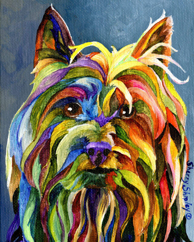 SILKY TERRIER 8X10 Colorful DOG Print from Artist Sherry Shipley