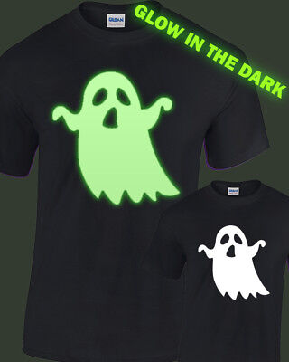 Spooky Ghost Leuchten Im Dunklen T-Shirt Herren Damen Glühend Halloween (Spooky Ghost Kostüm)