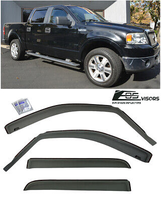 For 04-08 Ford F150 Crew Cab In-Channel Style Side Window Visors Rain Deflectors