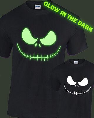 ton Gesicht Leuchten Im Dunklen T-Shirt Glühend Halloween (Jack Skellington Kinder)