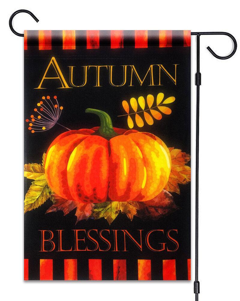 "Autumn Blessings Garden Flag 12""X18"" Fall Pumpkin and Leaves"