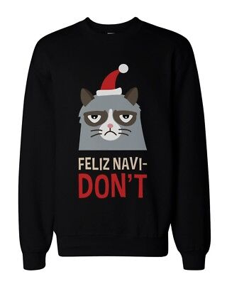Grumpy Cat Sweater (Funny Grumpy Cat Holiday Graphic Sweatshirts - Unisex Black Pullover)