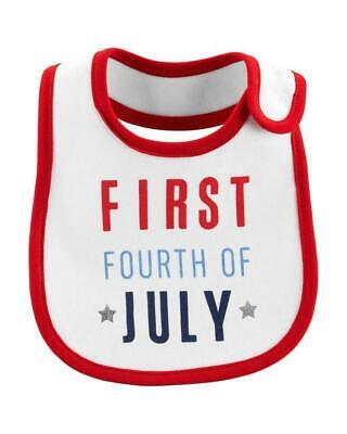 NWT Carter's Baby Girls / Boy Water Resistant First Fourth Of July Bib MSRP $8