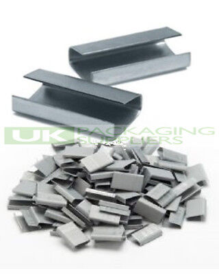 8000 x METAL SEALS CLIPS FOR HAND PALLET STRAPPING BANDING 12MM X 25MM SEMI OPEN
