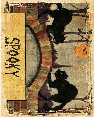VINTAGE ADVERTISING ENAMEL METAL TIN SIGN WALL PLAQUE (Halloween Spooky Cat)