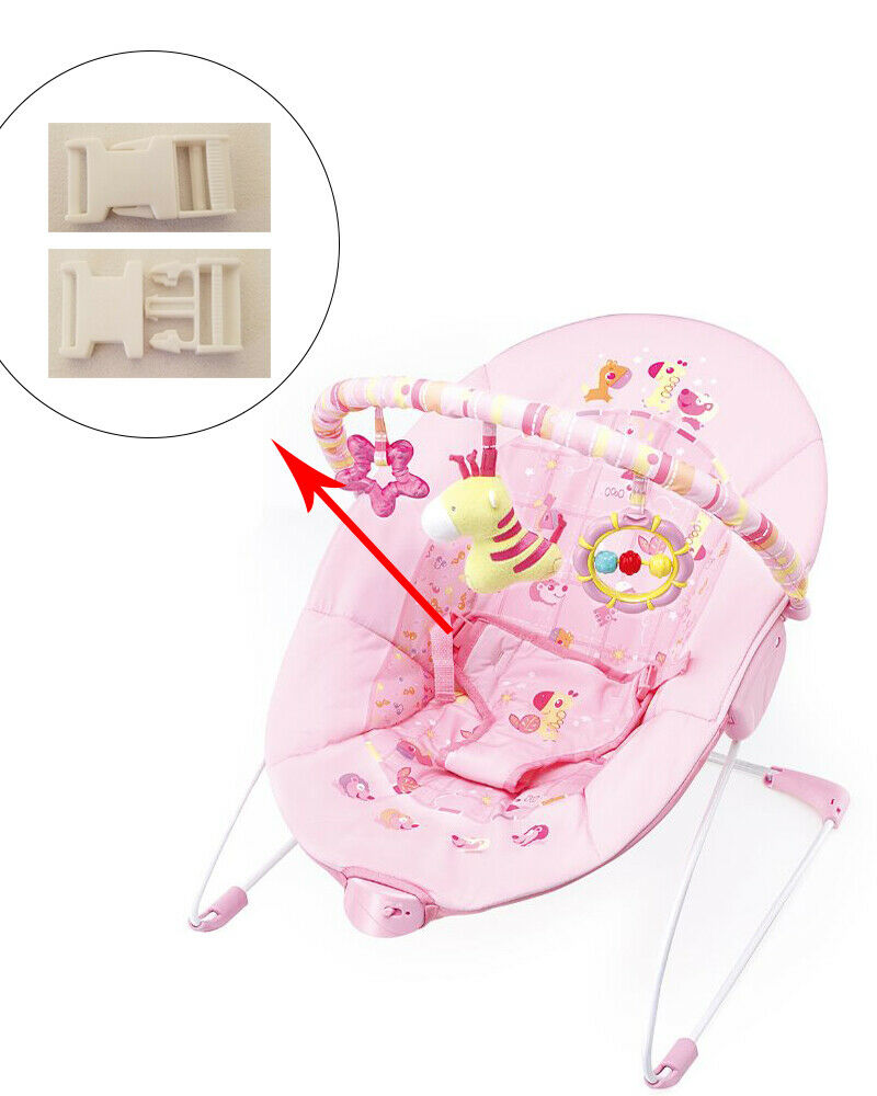 1 White Harness Seat Clip for Cute Baby Infant Kids Rocker B