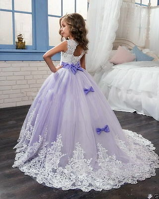 af149be8f45 Wedding Flower Girl Dress Communion Party Prom Princess Pageant Bridesmaid