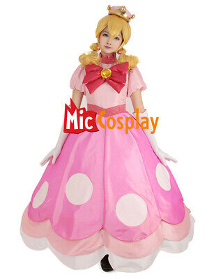Peach Peachette Cosplay Costume Pink Dress Woman Halloween Outfit - Peach Halloween