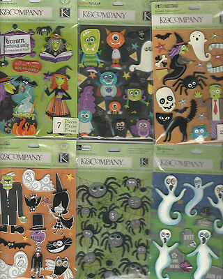 D Halloween (U CHOOSE  Assorted K&Company HALLOWEEN 3D Stickers witch spiders ghosts monster)