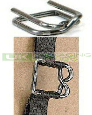 1000 x STRONG METAL BUCKLES CLIPS FOR 12MM WIDE HAND PALLET STRAPPING BANDING