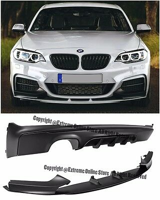 For 14-Up BMW F22 228i M Sport Performance Style Front Bumper Lip Rear Diffuser