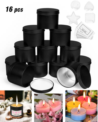 US Candle Making Tins 16 Pcs Empty Jar Containers 100ml For DIY Candle Cosmestic