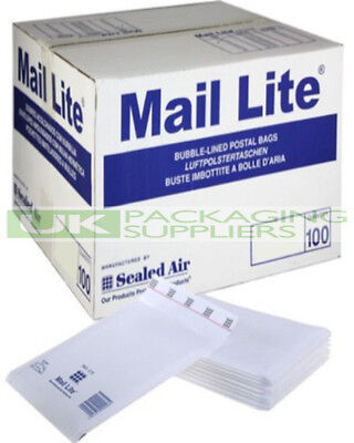 500 SMALL WHITE MAIL LITE ENVELOPES B/00 SIZE 120x210mm BUBBLE PADDED BAGS - NEW