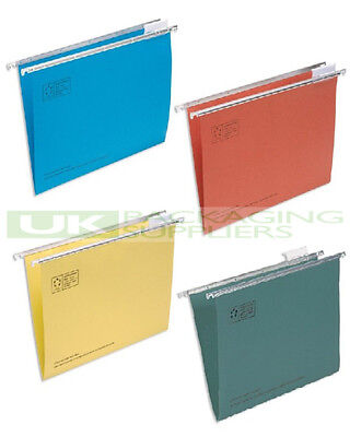 10 MIXED COLOURS SUSPENDED SUSPENSION FILES FOLDERS WALLETS FOOLSCAP 400mm - NEW