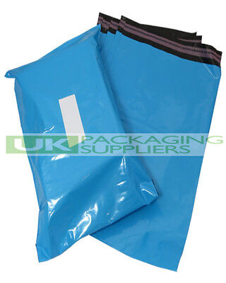 100 BLUE PLASTIC MAILING BAGS SIZE 12 x 16