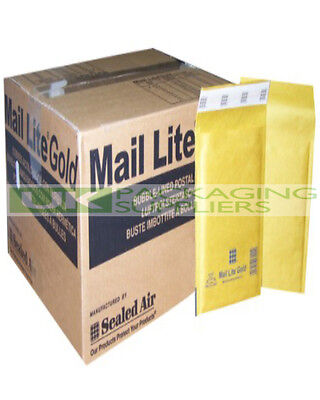 2000 LARGE GOLD J/6 300x440mm MAIL LITE SELF SEAL PADDED BUBBLE ENVELOPES - NEW