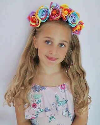 Rainbow Flower Crown Hair Band Choochie Day Of The Dead Gay Pride LGBTQ Festival](Day Of The Dead Hair Flowers)