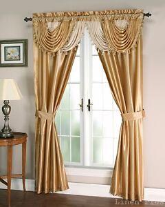 Gold Beige Satin Waterfall Window Curtain Panels Tie Back Set 5 Piece LinenPlus