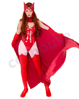Superheroine Cosplay Costume Bodysuit + Cloak + Mask Inspired by Scarlet Witch - Superheroine Costume
