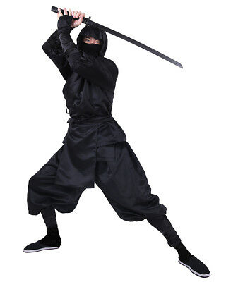 Black Ninja Costume Adult Uniform Suit Japanese Warrior Cosplay Halloween Outfit - Male Warrior Costume