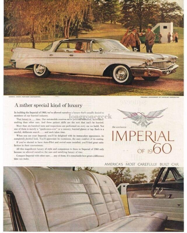 1960 Chrysler IMPERIAL Crown 4-door Southampton White Vintage Print Ad