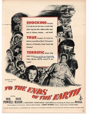 1948 TO THE ENDS OF THE EARTH Dick Powell Signe Hasso Vtg Movie Promo Print (To The Ends Of The Earth 1948)