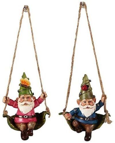 "Hammock Swinging Gnome 49437 Set of 2 Mini Ornament Resin 3.75"" L"
