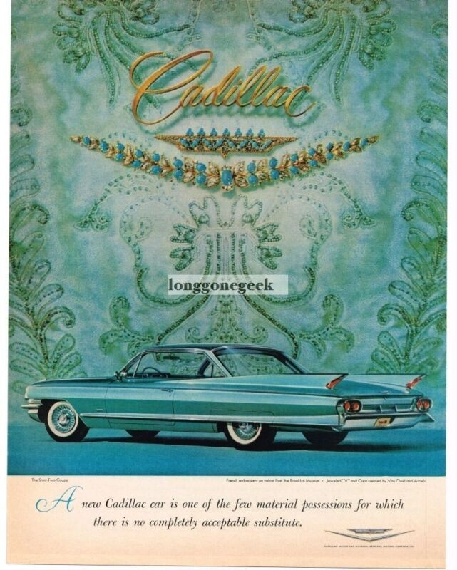 1961 CADILLAC Turquoise Sixty-Two Coupe French Emproidery Vintage Ad