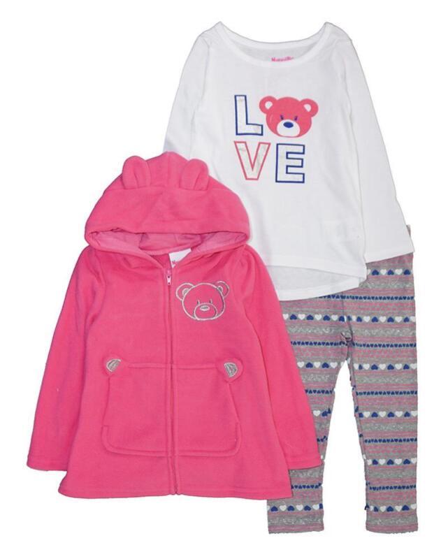 Nannette Toddler Girls Fleece Hoodie Three-Piece Legging Set Size 2T 3T 4T