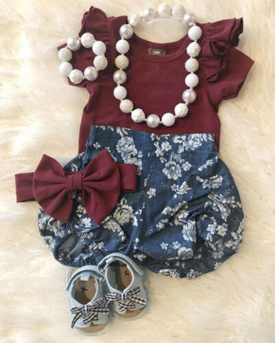 US Stock Newborn Infant Baby Girl Floral Clothes Tops Romper