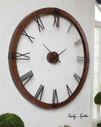 HUGE 60 Hammered Copper Open Wall Modern Wall Clock Round Metal Contemporary XL